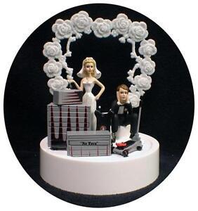 Car AUTO tools Wedding Cake Topper Bride Groom Top Tool Box Funny Racing GRAY