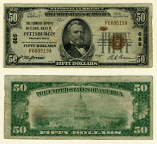 Pittsburgh PA $50 1929 T-1 National Bank Note Ch #685 Farmers Deposit NB Very Go