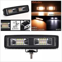 2 Pcs 6'' 48W 16 LED Amber&White Car SUV Flood Beam Work Light Driving Fog Lamp