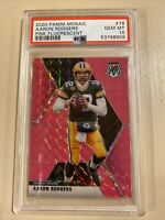 2020 Aaron Rodgers Mosaic Pink Fluorescent #9/10 Green Bay Packers PSA 10 Gem 💎