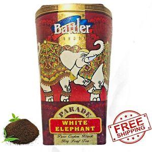 Ceylon Black Tea Fresh BUTTLER White Elephant Parade Metal Tin Loose Leaf 100g