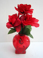 """Valentine Heart-Shaped Red Glass Bud Vase W/ Red Ribbon Bow 5"""" New"""
