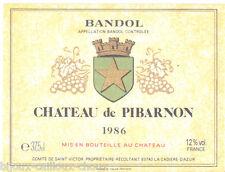 étiquette de vin BANDOL Château de Pibarnon 37.5cl 1986  wine label