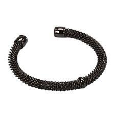 Black Plated Mesh Open Clasp Teens Womens Mens Bangle Bracelet 57mm