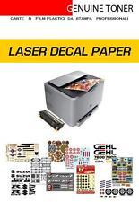 kit carta per decalcomanie, stampa laser: 4 fogli A4 (2 fondo bianco + 2 clear)