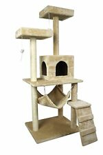 """59"""" Cat Tree Tower Condo Pet Play House with Scratch Post Sisal Pole Hammock"""