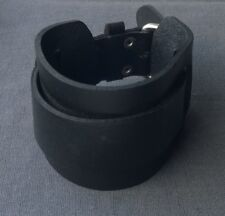 "5CM THICK CHUNKY BLACK LEATHER CUFF BRACELET FIT 7"" UP TO 8.5"""