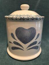 1992 House of Lloyd  Blue Heart - Sugar Flour Canister Crock. Great Shape.