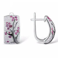 925 Silver Women Fashion Red Ruby Flower Plum Blossom Ear Hoop Earrings Jewelry