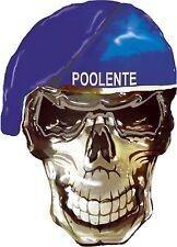Skull Blue Barett POOLENTE Motorrad Biker AutoTruck  Chrom Metall Spass Sticker