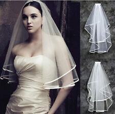 Short Women 2T White Wedding Bridal With Veil Satin Edge Comb Elbow Length