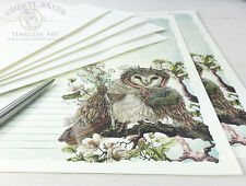 Owl Stationery Paper Set - Stationary Set Writing Paper Lined Paper Art Woodland
