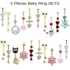 5PCS/LOT Belly Ring Sets 316L Stainless Steel Navel Button Ring Body Piercing