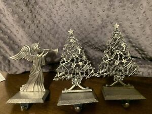 3 Vintage SILVER TONE 2 Metal  Christmas Tree And 1 Angel STOCKING HOLDERS
