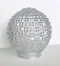Vintage Ceiling Geometric Light Fixture Glass Globe Art Deco Diamond Cut