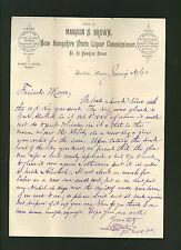 SIGNED 1891 letter New Hampshire State Liquor Commission, Albert F Lauten Boston