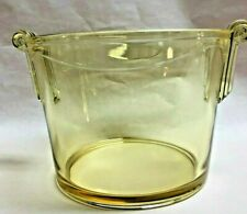 One Vintage Depression Glass Clear Yellow Glass Bowl With Scalloped Handles