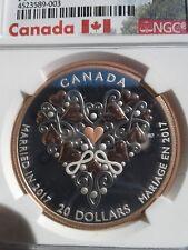 2017 🔱 ULTRA CAMEO 🔱 RARE CANADIAN GOLD GILT WEDDING DAY SILVER $20 NGC PF69
