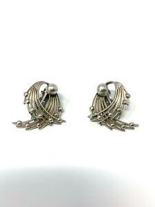 Lovely Antique Art Deco Sterling Silver 925 Heavy Ladies Earrings 9.7g #353