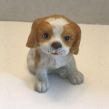 Vintage Homco 1407 Porcelain Cocker Spaniel Puppy Figurine Gold White dog