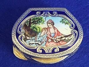 Elegant Vintage Italian Silver Pill Box w Period Scene Enamel Lid 21g
