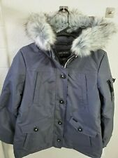 Skechers Women's Warm Winter Jacket with Faux Trimmed Hood Dark Grey Size Medium