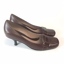 Nine West Size US9 W UK7 Brown Leather Slip On Kitten Heels Court High Shoes