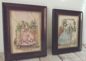 Set 2 Antique Godeys Americanized Paris Fashions Vintage brown Framed Picture