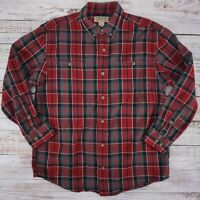 Duluth Trading Co Men's Free Swingin' Flannel Shirt Heavy Red Gray Plaid - Large