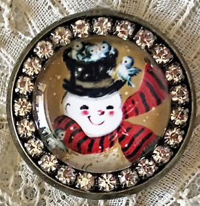 SNOWMAN Glass Rhinestone BROOCH Lapel Pin Vintage Christmas Card Bluebird Nest