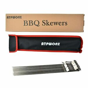 "ATPWONZ 17"" Kebob Skewers, Stainless Steel BBQ Skewers Metal Flat Barbecue Gr..."