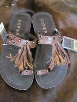 Roper Sandals  Brand New in Box Tan Straps, Nail Heads and crystals No Heel Supe