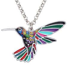 Enamel Alloy Hummingbird Bird Necklace Pendant Jewelry For Women Kid Charm Gifts