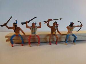 Lot soldats anciens starlux cavaliers indiens farwest figurines 1/32