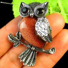 Tibetan silver Wrapped Gold Sand Stone Owl Pendant Bead 45x32x10mm L70407