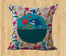 Nautical sea life fish whale cushion cover decorative bedroom cute pillow cover