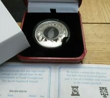 2007 SILVER PROOF 1 OZ COIN GEORGIA & SANDWICH ISLANDS CRYSTAL PENGUIN BOX/COA