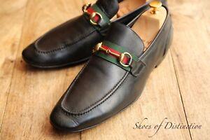 Men's Gucci Black Leather Web Bit Loafers Shoes Men's UK 9.5 US 10.5 EU 43.5