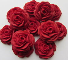 12 Ruby Red Roses Flowers Edible Cake Toppers Sugarcraft  Wedding Cupcake