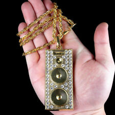 1PC Hip Hop Necklace Men's DJ Boom Box Music Rhinestone Pendant Chain Jewelry