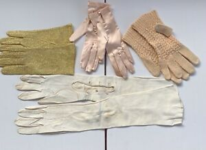 Vintage Ladies Gloves Leather Satin Lame Cotton Mixed Lot x 4 Pairs