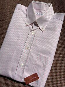 NEW $500 LORO PIANA Dress Shirt Sz 18 45eu Pink Striped