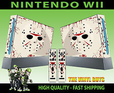 NINTENDO WII STICKER JASON VORHEES MASK BLOODY HORROR GRAPHIC SKIN & 2 PAD SKINS