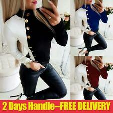 Women's Turtleneck Tops Ladies Long Sleeve Slim Fit Button Casual T Shirt Blouse