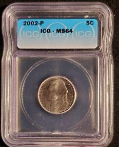 2002-P Jefferson Nickel, ICG MS64.   Lot t1483