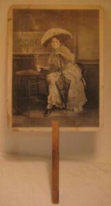 Old Pharmacy Advertising Fan w/ Soda Fountain & Pretty Lady Harwich Centre MA
