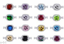 Princess / Cushion Cut Promise Infinity Celtic Birthstone Sterling Silver Ring
