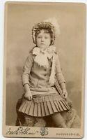 Girl Wearing Bonnet & Book Vintage Children Fashion Photo by Shaw, Huddersfield