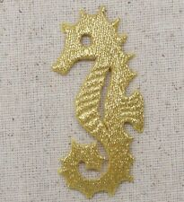 Embroidered Iron On Applique Patch - Gold Seahorse Ocean Marine Animal