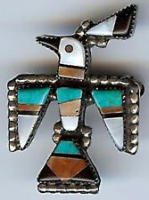 VINTAGE Zuni indiano Argento intagliati corallo turchese onice Thunderbird